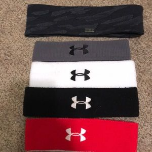 4 Under Armour sweatbands and 1 thick headband